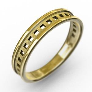 10金イエローゴールド 平打ち 指輪 小指 指輪 スタンダード 四角 型抜き 約3mm幅|skybell