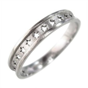 平らな指輪 星抜き デザイン 地金 10金ホワイトゴールド 約3mm幅|skybell