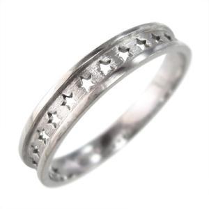 k10ホワイトゴールド 平らな指輪 星抜き デザイン 地金 約3mm幅|skybell
