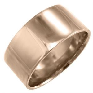10kピンクゴールド 平らな指輪 ピンキー 小指 リング 幅広 指輪 約10mm幅 重量感抜群 特大サイズ|skybell