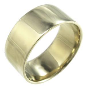 k10イエローゴールド 平らな指輪 ピンキー 小指 リング 幅広 指輪 約10mm幅 重量感抜群 特大サイズ|skybell
