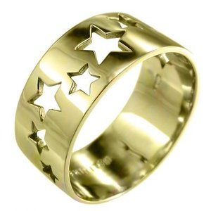 平打ちの 指輪 スター 型抜き 幅広 リング 18金イエローゴールド 特大サイズ 約1cm幅 skybell