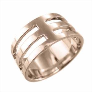 平打ちの 指輪 幅広 リング k18ピンクゴールド 約1cm幅 特大サイズ skybell