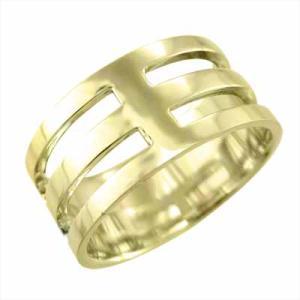 平たい リング 幅広 指輪 K18 約1cm幅 特大サイズ skybell