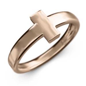 10kピンクゴールド 指輪 地金 クロス ジュエリー|skybell