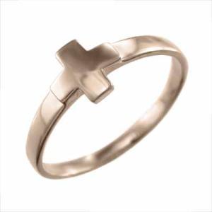 指輪 十字架 スタンダード k10ピンクゴールド|skybell