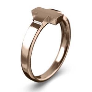 k10ピンクゴールド 指輪 地金 デザイン クロス|skybell|03