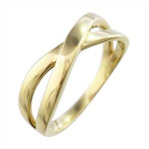 指輪 デザイン クロス 地金 18金イエローゴールド X型|skybell