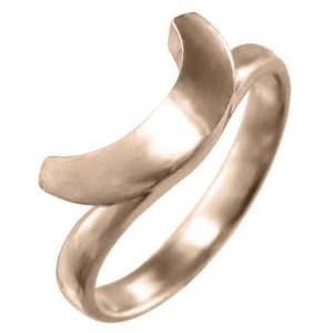 指輪 18金ピンクゴールド 馬蹄 デザイン 地金 変形馬蹄|skybell