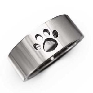 犬 地金 平らな指輪 k18ホワイトゴールド 約7mm幅 大きめサイズ 厚さ約1.4mm 肉球抜き|skybell
