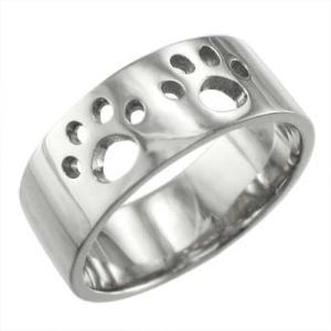 平らな指輪 地金 犬 k10ホワイトゴールド 約7mm幅 大きめサイズ 厚さ約1.4mm 肉球抜き|skybell