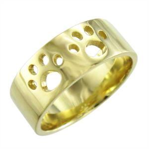平らな指輪 地金 犬 k18イエローゴールド 約7mm幅 大きめサイズ 厚さ約1.4mm 肉球抜き|skybell