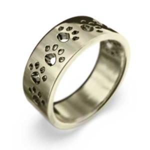 k10イエローゴールド 平らな指輪 地金 犬 約7mm幅 大きめサイズ 厚さ約1.4mm 肉球足跡抜き|skybell