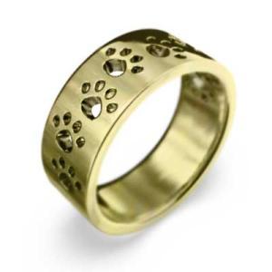 平打ち 指輪 スタンダード 犬 k18イエローゴールド 約7mm幅 大きめサイズ 厚さ約1.4mm 肉球足跡抜き|skybell