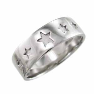 平らな指輪 pt900 星 デザ...