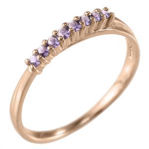10金ピンクゴールド ハーフ エタニティリング 2月誕生石 アメシスト(紫水晶) skybell