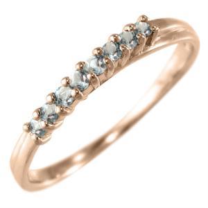 アクアマリン ハーフ エタニティ 指輪 3月誕生石 k10ピンクゴールド|skybell