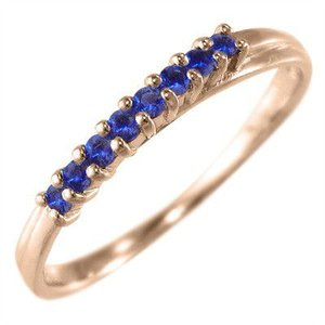 k10ピンクゴールド ハーフ エタニティ 指輪 ブルーサファイア 9月誕生石|skybell