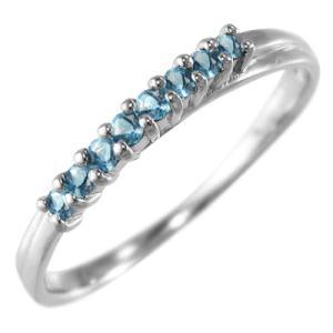 ブルートパーズ(青) ハーフ エタニティ 指輪 10金ホワイトゴールド 11月誕生石|skybell