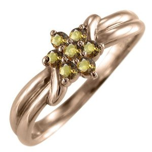 18金ピンクゴールド Flower フラワー 指輪 シトリントパーズ|skybell