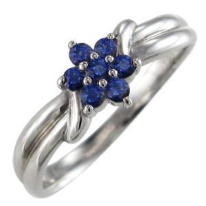 指輪 サファイヤ 花 フラワー 18金ホワイトゴールド 9月誕生石|skybell