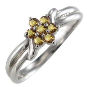 指輪 花 フラワー シトリン k18ホワイトゴールド 11月の誕生石|skybell
