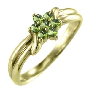 k18イエローゴールド 指輪 花 フラワー 8月誕生石 ペリドット|skybell