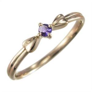 指輪 リボン デザイン 一粒 アメジスト(紫水晶) ピンクゴールドk10 2月の誕生石|skybell