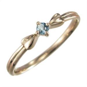 k10ピンクゴールド 指輪 1粒 石 アクアマリン 3月誕生石 リボン ギフト|skybell