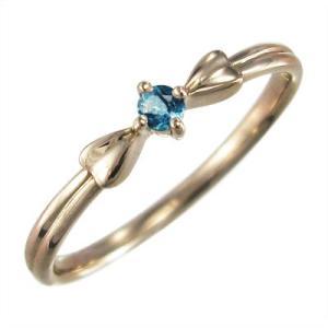 10kピンクゴールド 指輪 1粒 石 ブルートパーズ(青) 11月の誕生石 リボン ギフト|skybell