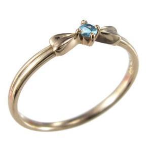 指輪 1粒 石 リボン ギフト ブルートパーズ k10ピンクゴールド|skybell|03