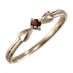 ガーネット 指輪 リボン ギフト 1粒 石 1月の誕生石 10kピンクゴールド|skybell