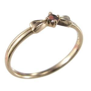 k10ピンクゴールド 指輪 リボン ジュエリー 1粒 石 1月の誕生石 ガーネット skybell 03