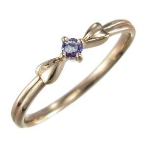 リボン 一粒 指輪 タンザナイト k10ピンクゴールド|skybell