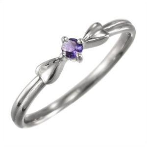 リボン デザイン 一粒 指輪 アメジスト(紫水晶) k10ホワイトゴールド|skybell