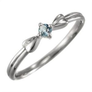 リボン ギフト 1粒 石 指輪 アクアマリン ホワイトゴールドk10|skybell