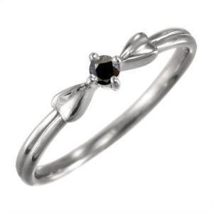 リング 一粒石 リボン ブラックダイヤ(黒ダイヤ) 4月誕生石 k10ホワイトゴールド|skybell