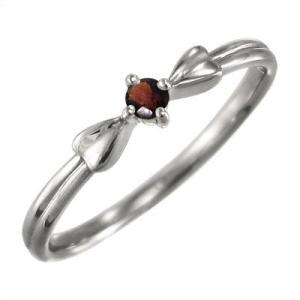 指輪 ガーネット リボン ギフト 1粒 石 10kホワイトゴールド 1月の誕生石|skybell