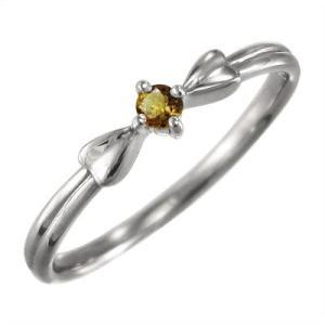 10kホワイトゴールド リング 一粒石 (黄水晶)シトリン 11月誕生石 リボン|skybell