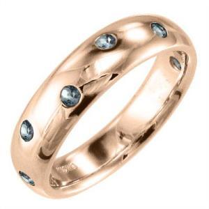 指輪 アクアマリン k10ピンクゴールド|skybell