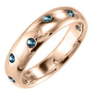 18金ピンクゴールド 指輪 11月誕生石 ブルートパーズ(青)|skybell