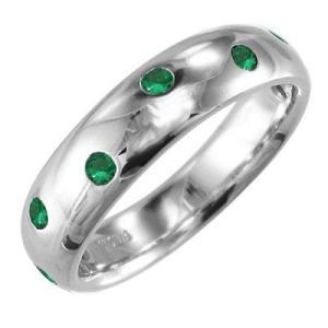 エメラルド 指輪 5月の誕生石 18kホワイトゴールド|skybell