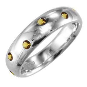 指輪 シトリントパーズ 11月の誕生石 18金ホワイトゴールド|skybell