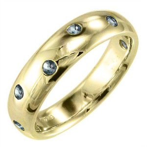 指輪 アクアマリン k18イエローゴールド|skybell