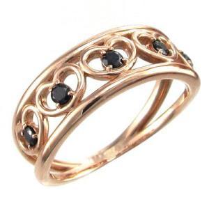 5連 オープンハートリング ブラックダイヤモンド k18ピンクゴールド 4月の誕生石 指輪|skybell