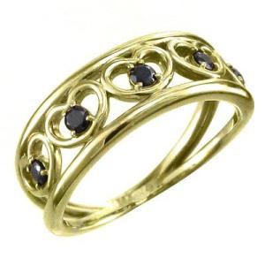 5連 オープンハートリング ブラックダイヤモンド k18イエローゴールド 4月の誕生石 指輪|skybell