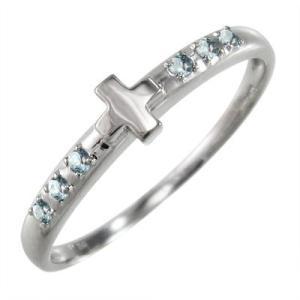 アクアマリン 指輪 クロス ヘッド 3月の誕生石 k10ホワイトゴールド|skybell