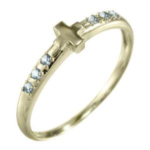 イエローゴールドk10 指輪 クロス ヘッド 3月の誕生石 アクアマリン|skybell