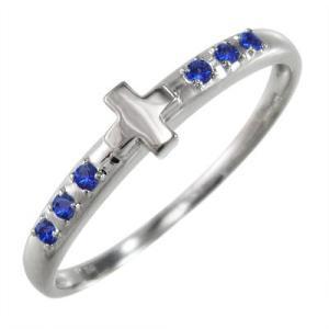 指輪 クロス ヘッド サファイア(青) 白金(プラチナ)900 9月誕生石|skybell