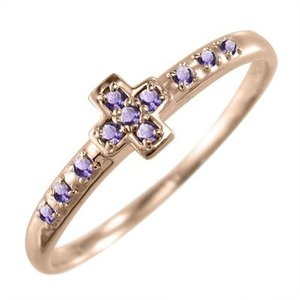 指輪 クロス ヘッド アメジスト k10ピンクゴールド 2月の誕生石|skybell